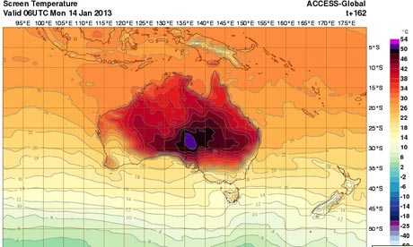 Australian Bureau of Metereology temperature map - with a new colour for 52-54C. Photograph: BOM. Click the image to see a larger version