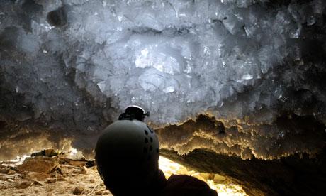 Frost crystals at the entrance of Ledyanaya Lenskaya cave, Siberia. Photograph: Vladimir V Alexioglo